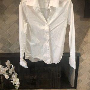 Banana republic white stretch shirt size 6 euc